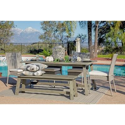 Sierra 6pc Outdoor Eucalyptus Wood Rectangular Dining Set - Dark Gray - Coaster