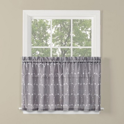 Saturday Knight Ltd Briarwood Collection High Quality Stylish Delicate & Filmy Window Tiers & Valance in Dove Gray Color