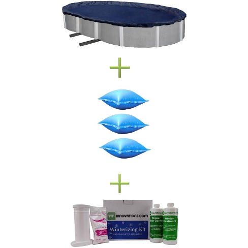 Swimline 12x24 Blue Oval Above Ground Pool Cover + Air Pillows + Winterizing Kit - image 1 of 4