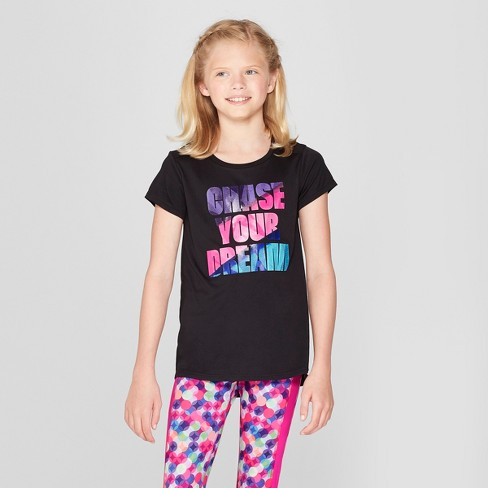 dd9a61b09369 Girls  Chase Your Dream Graphic Tech T-Shirt - C9 Champion® Black XS ...