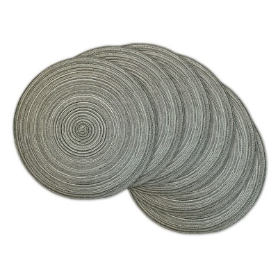 Set of 6 Variegated Round Woven Placemat Gray - Design Imports