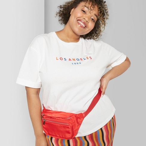 95decf55e76 Women's Plus Size Short Sleeve Oversized Embroidered T-Shirt - Wild Fable™  White : Target