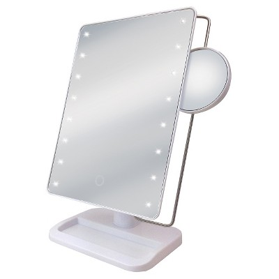 Ginsey Sharper Image LED Sensor Mirror with 10X Magnification and Tra