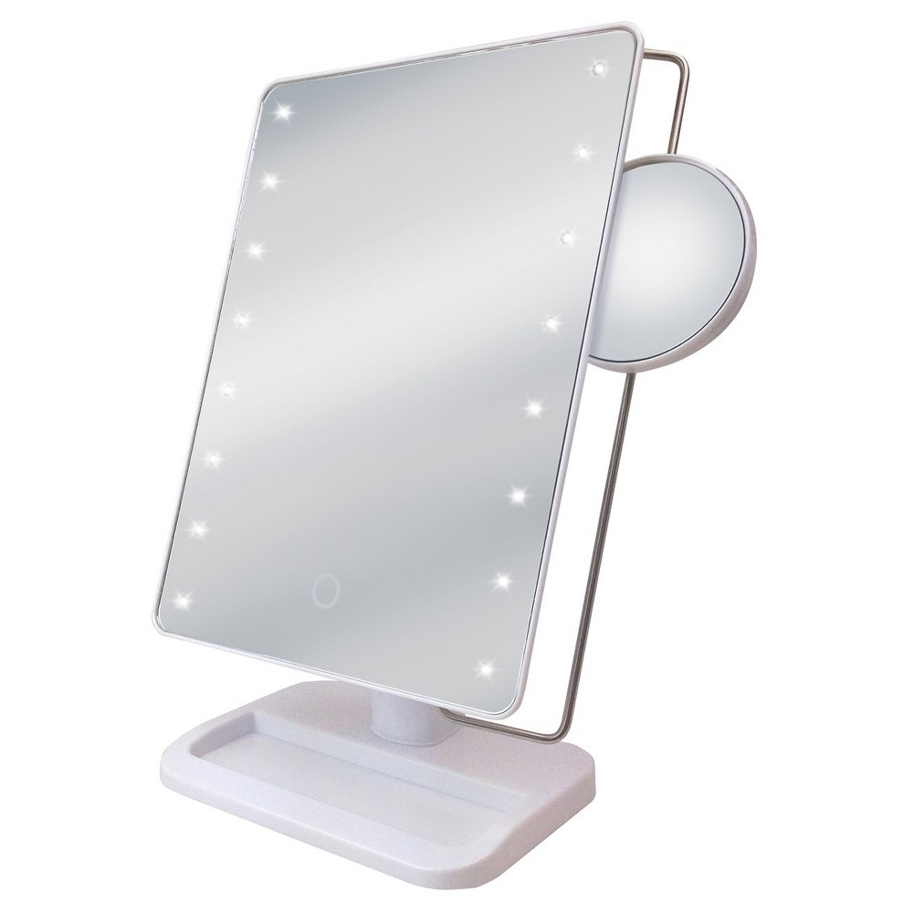 Image of Ginsey Sharper Image LED Sensor Mirror with 10X Magnification and Tra