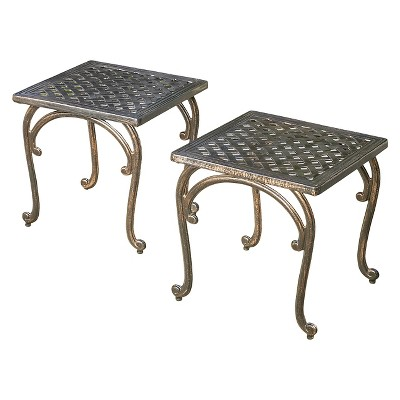 Mckinley Set of 2 Cast Aluminum Patio End Tables - Copper - Christopher Knight Home