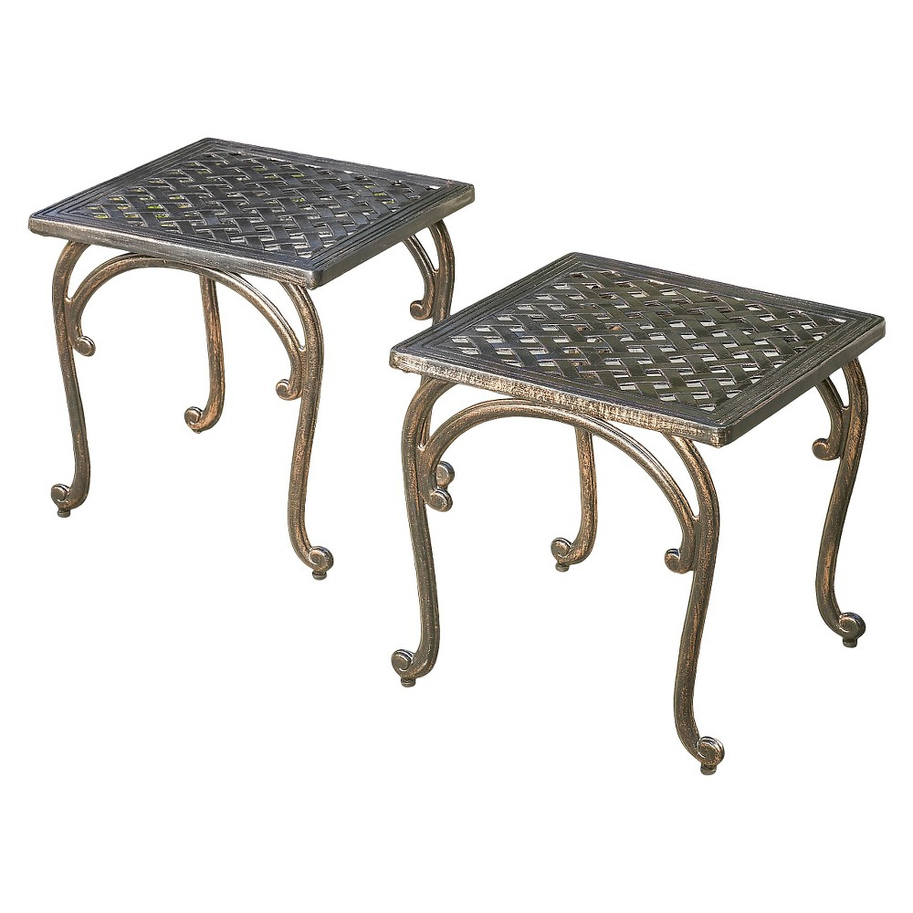 Mckinley Set of 2 Cast Aluminum Patio End Tables - Copper (Brown) - Christopher Knight Home