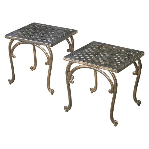 Mckinley Set Of 2 Cast Aluminum Patio End Tables Copper Christopher Knight Home Target