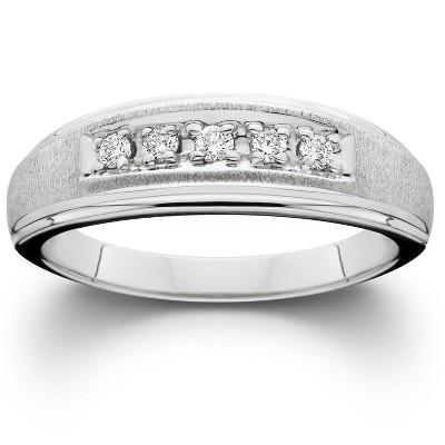 Pompeii3 Mens Diamond Wedding Brushed Ring 10K White Gold
