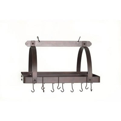 Old Dutch International Oiled Bronze Rectangular Hanging Pot Rack with Grid and 24 Hooks