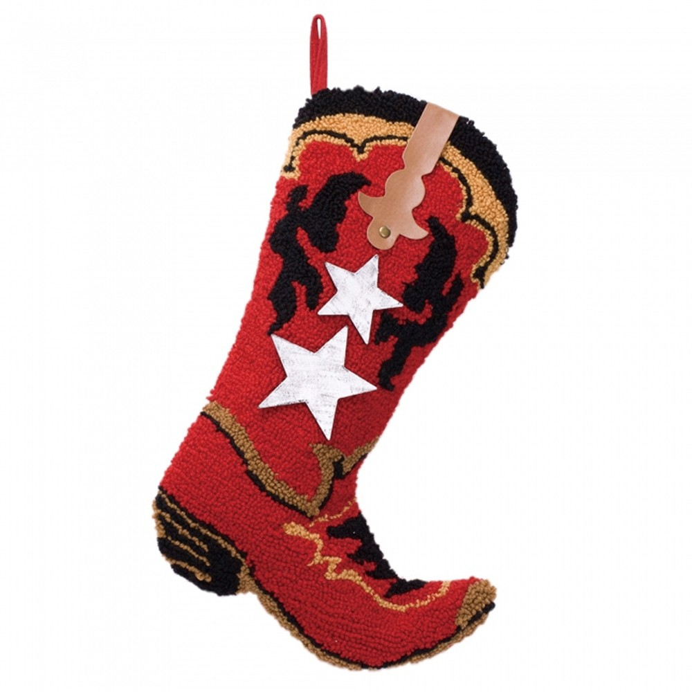 Image of Red Boot Hooked Christmas Stocking - Glitzhome