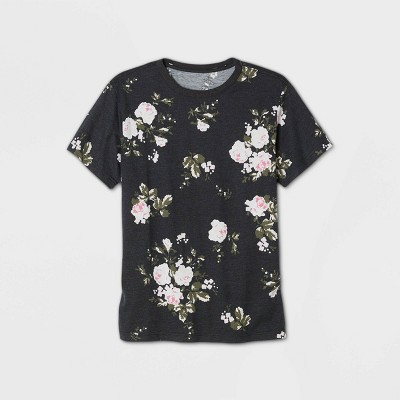 Men's Floral Print Short Sleeve Crewneck T-Shirt - Original Use™ Black