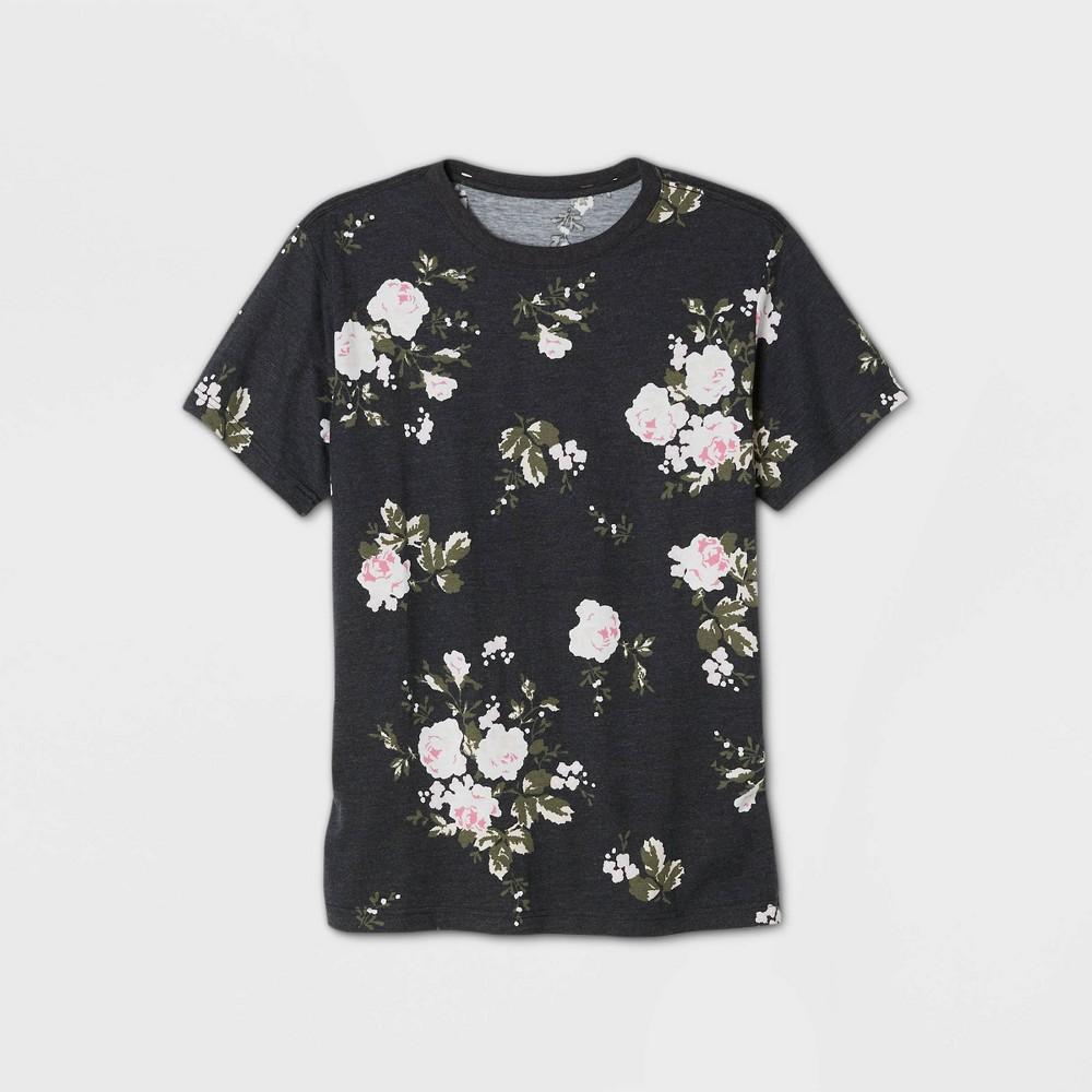 Mens Floral Print Short Sleeve Crewneck T-Shirt - Original Use Black XL