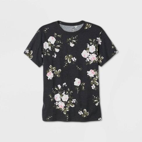 Men's Floral Print Short Sleeve T-Shirt - Original Use™ Black - image 1 of 1
