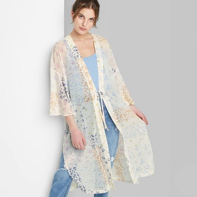 Women's Floral Print Duster Wild Fable™ - Cream One Size