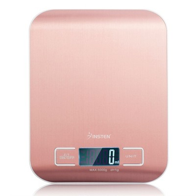 Insten Digital Food Kitchen Scale in Grams & Ounces - 1g/0.1oz Precise Upto 11lb (5000g) Capacity, Rose Gold