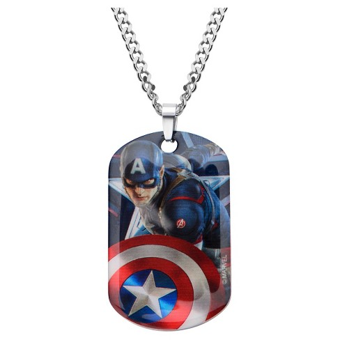"Men's Marvel® Captain America Graphic Stainless Steel Dog Tag Pendant with Chain (22"") - image 1 of 2"