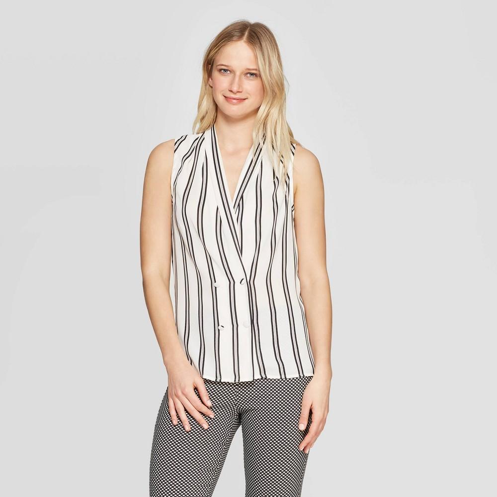 Women's Striped Sleeveless V-Neck Tuxedo Blouse - Who What Wear White M