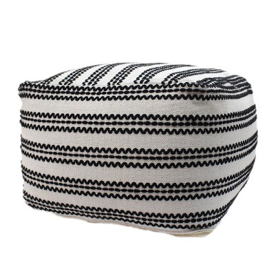 Chukar Contemporary Large Square Cotton Pouf Black/Natural - Christopher Knight Home