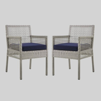 Aura 2pk Outdoor Wicker Rattan Patio Dining Chair - Modway