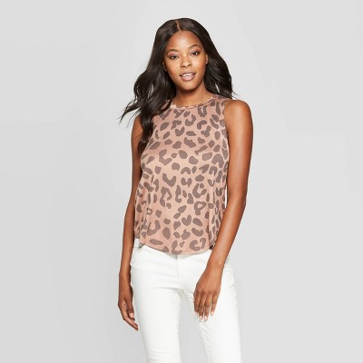 Women's Leopard Print Graphic Tank Top - Grayson Threads (Juniors') - Pink