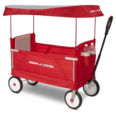 Radio Flyer 3 in 1 EZ Fold Wagon with Canopy - Red