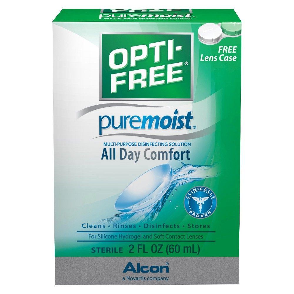 Opti-Free Pure Moist Multi-Purpose Disinfecting Solution - 2.0 fl oz Give your eyes the all-day comfort that they need with the Pure Moist Multi-Purpose Disinfecting Solution from Opti-Free. This formula is made specifically for soft contact lenses for optimal contact lens care. Use daily on either silicone hydrogel or soft contact lenses to clean, rinse, disinfect and store. Each package comes with a free lens case so you can always keep your contacts fresh and clean. Age Group: Adult.