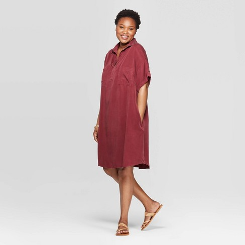 Women's Plus Size Short Sleeve Collared Shirtdress - Universal Thread™ - image 1 of 3