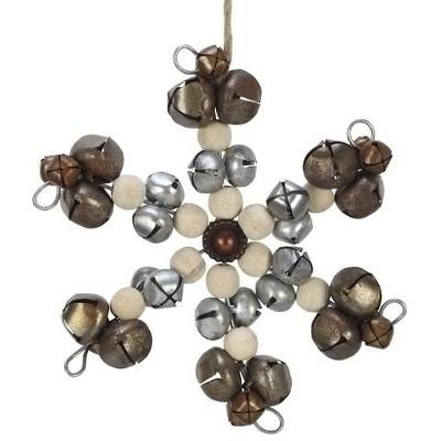 Roman 6 5 Jingle Bell And Wood Beaded Snowflake Christmas Ornament Silver Brown Target