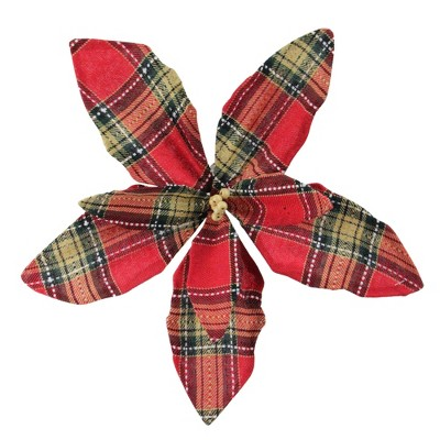 """Northlight 13.5"""" Red and Brown Plaid Poinsettia Flower Christmas Pick"""