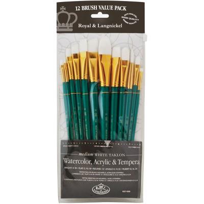 White Taklon Value Pack Brush Set-12/Pkg