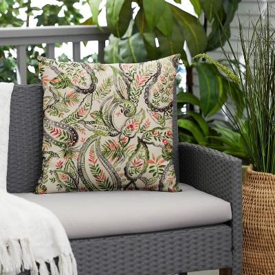 Paisley Outdoor Throw Pillow Green/Blue