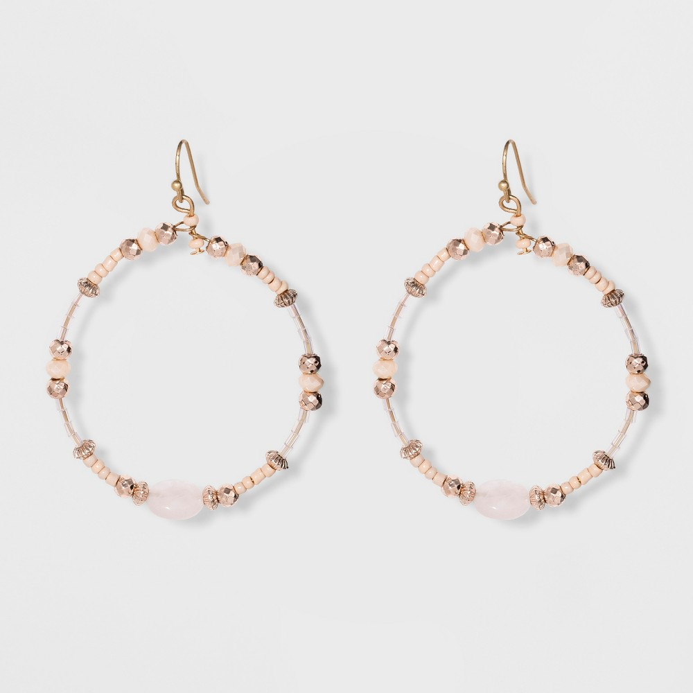 Beaded Hoop with Stone Earrings - Universal Thread Light Pink