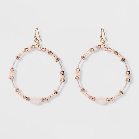 Beaded Hoop With Stone Earrings Universal Thread Light Pink