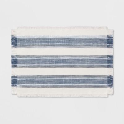 Woven Stripe Placemat Fringe Blue - Threshold™