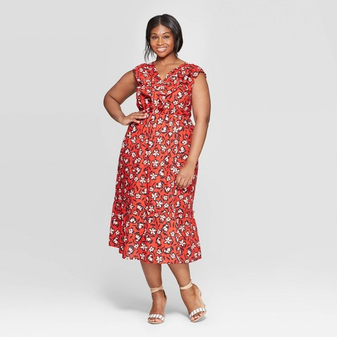 Women\'s Plus Size Floral Print Sleeveless Ruffle V-Neck Maxi Dress - Who  What Wear™ Red Hot 3X