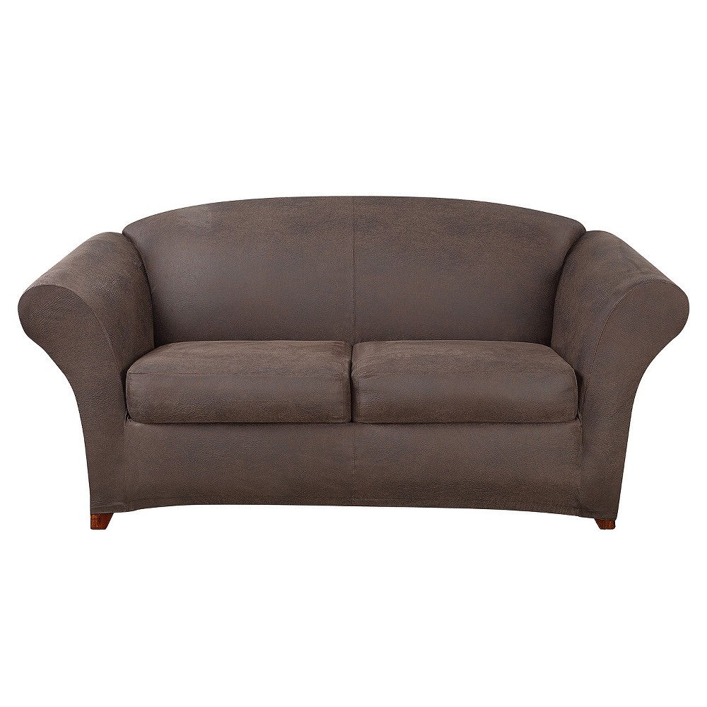 Ultimate Stretch Leather 3pc Sofa Slipcover Weathered Brown - Sure Fit