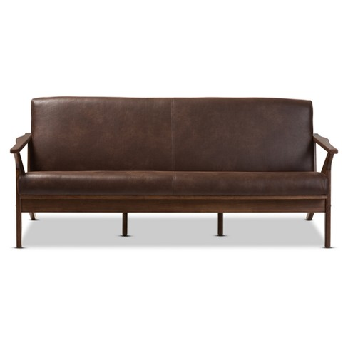 Bianca Mid Modern Walnut Wood Distressed Faux Leather 3 Seater Sofa Dark Brown Baxton Studio Target