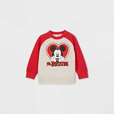 Toddler Boys' Mickey Mouse 'Mr.Irresistable' Valentine's Day Fleece Pullover - Red
