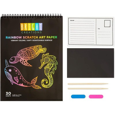 Bright Creations Color Scratch Pad Kit Set with 30 Pages, 2 Styluses, 2 Postcards, 2 Sharpeners