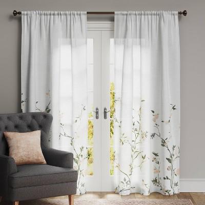 "84""x54"" Climbing Floral Light Filtering Window Curtain Panel Coral/Blush - Threshold™"