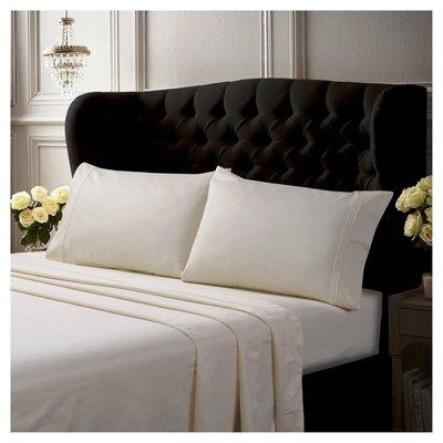Egyptian Cotton Sateen Deep Pocket Solid Sheet Set (King)4pc Ivory 500 Thread Count - Tribeca Living®