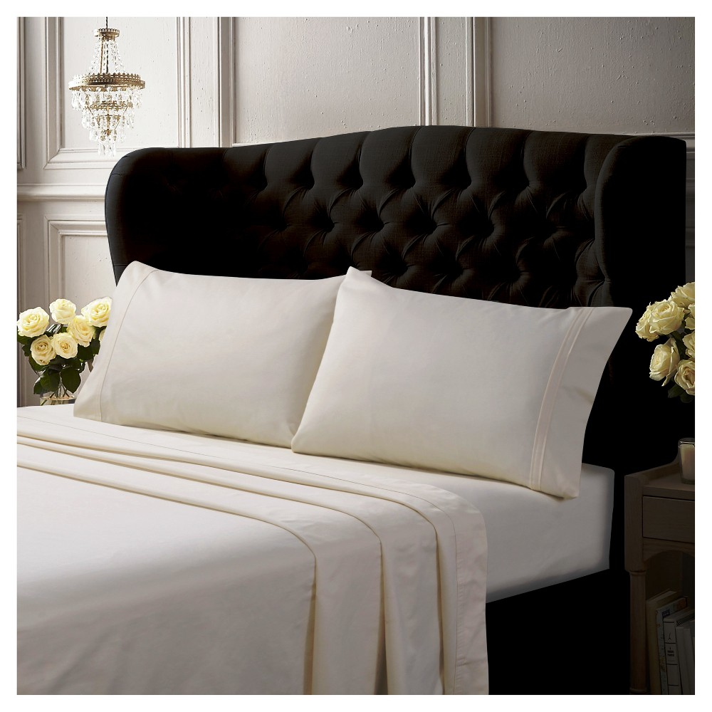 Egyptian Cotton Sateen Deep Pocket Solid Sheet Set (King) 6pc Ivory 500 Thread Count - Tribeca Living