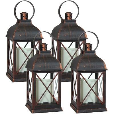 """4ct 10"""" Setauket Plastic and Glass Battery Operated Indoor LED Candle Lantern - Bronze - Sunnydaze Decor"""
