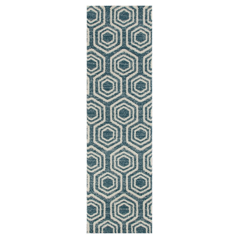 Image of Aqua Abstract Woven Runner - (2'X8') - Art Carpet, Size: 2'X8' RUNNER, Blue