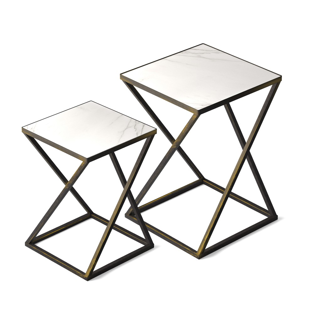 Image of Katrine Arden Side Table Set Black Gold - Jamesdar