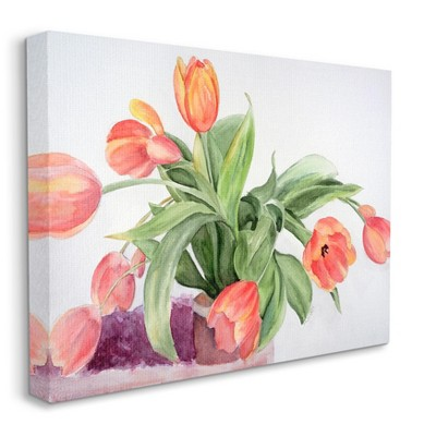 Stupell Industries Dancing Red Orange Tulip Flowers over White