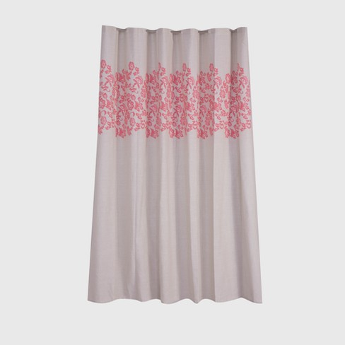 Leaf Printed Shower Curtain Coral Pink