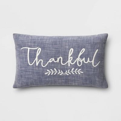 Lumbar Thankful Chambray Throw Pillow Navy - Threshold™