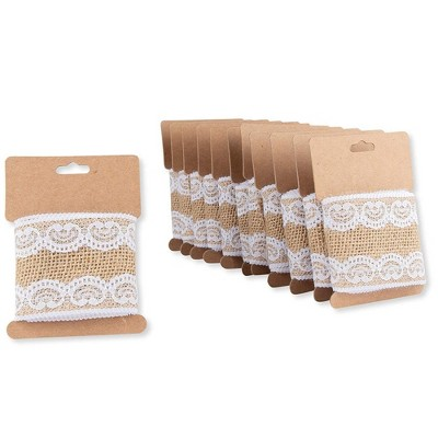 """Genie Crafts 12-Pack Brown Burlap Jute Fabric Ribbon Trim Roll with White Lace 2.44"""" x 1.09-Yard for Crafts"""