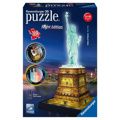 Ravensburger Night Edition: Statue Of Liberty With 3D Puzzle 108pc